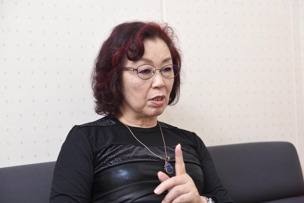 Sayoko Nobuta, making a strong point